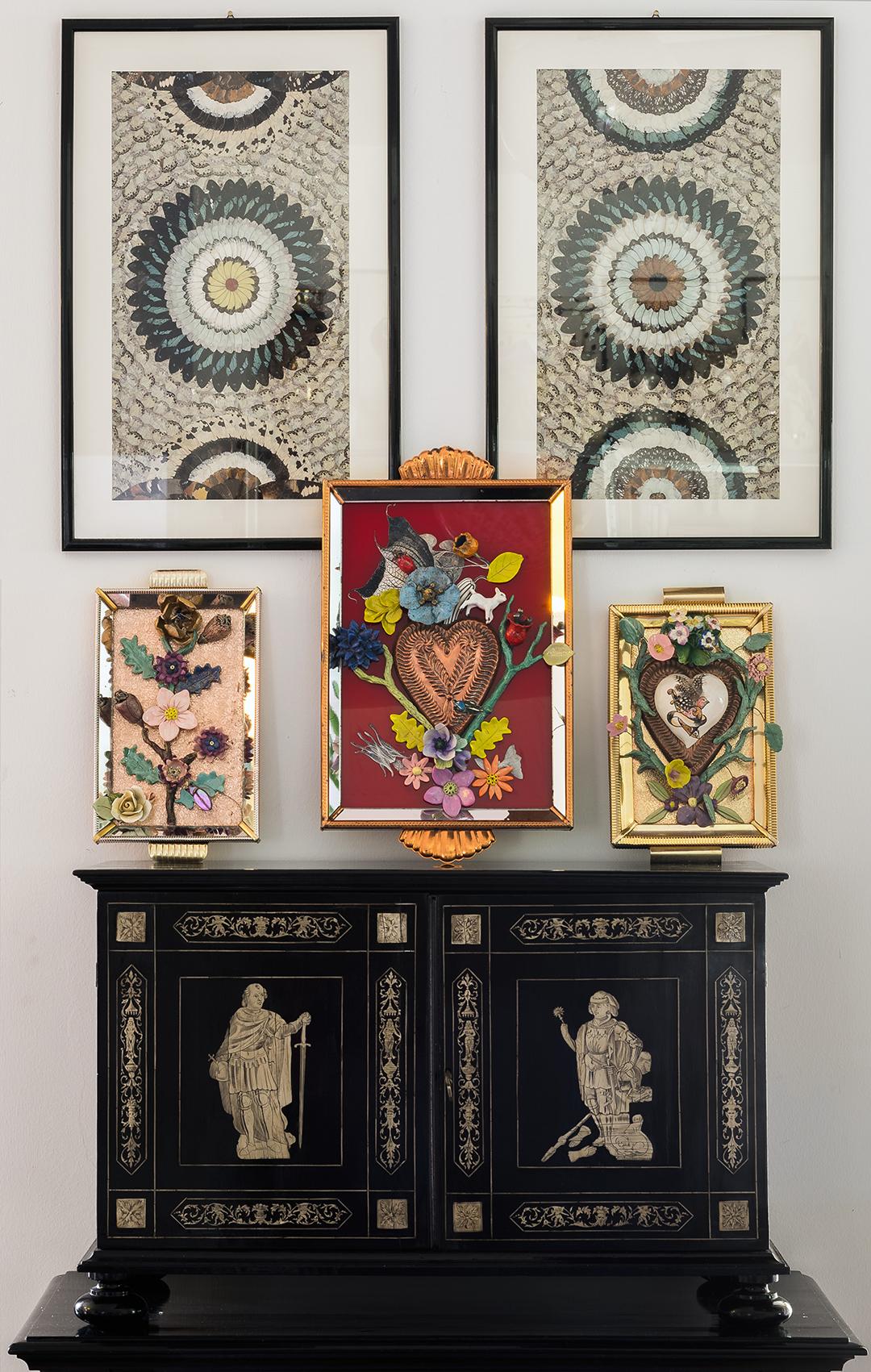 zanellazine-collection Fiori di Terra, ceramic collages on italian vintage trays, unique pieces